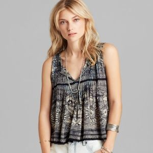 Free People Myna Print Split Back Tank - size XS